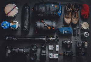 an assortment of camping gear