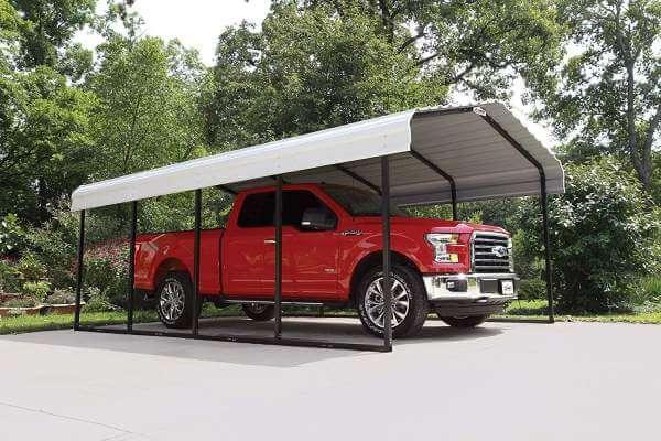 Arrow 29 Red truck Galvanized Steel Car Canopy 12 x 20 x 7