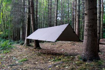 Camping Tarp strung up in the forest