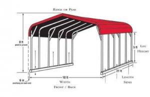 Car Canopy Size Diagram