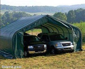 Rhino Shelters- Green Car Canopy 22 x 24 feet