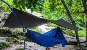 Tarp Hanging over hammock