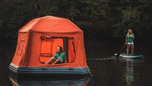 air tent on water