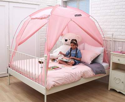 Amazon Com Nana Dome Princess Bed Canopy With Led Lights For Baby Kids Reading Play Tents Cotton Canvas Height 7 2 Grey With Lights Toys Games