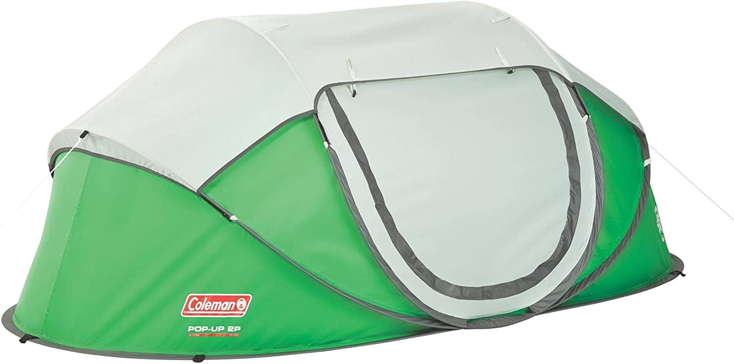 the coleman galiano tent in green and white