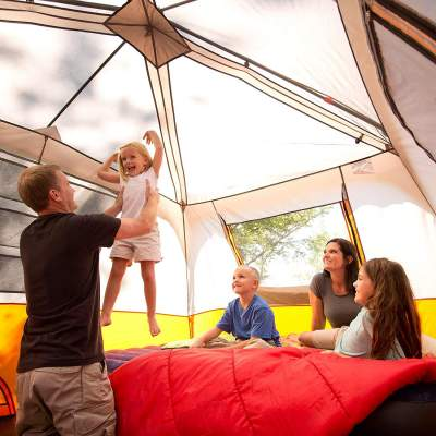 family space inside Ozark Trail 8 Person Instant Cabin Tent