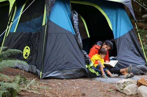 Large doors Coleman 10 Person blackout tent