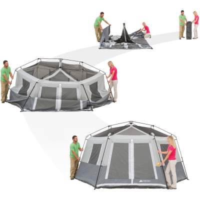 Pitching Ozark Trail 8 Person Hexagon Tent