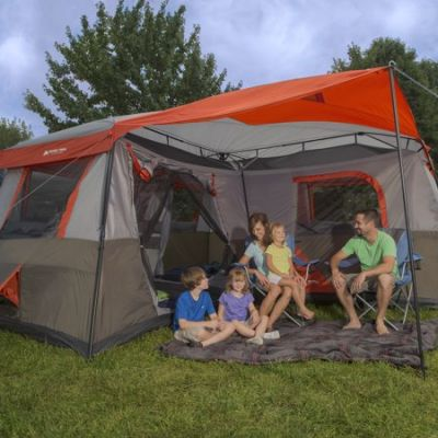 family sat with Ozark 12 Person Tent