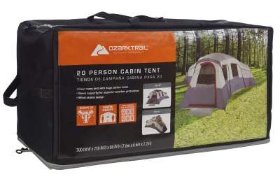ozark 20 person cabin tent carry bag