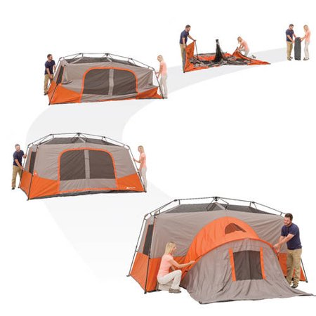 pitching ozark trail 11 person tent