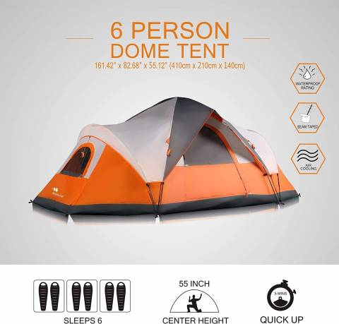 Mobihome 6 Person Extended Pop Up Dome Tent