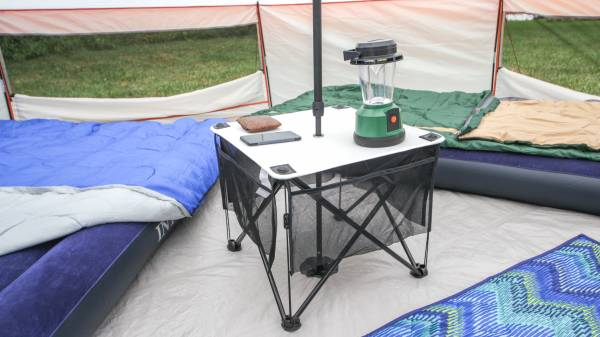 camping table inside ozark yurt tent