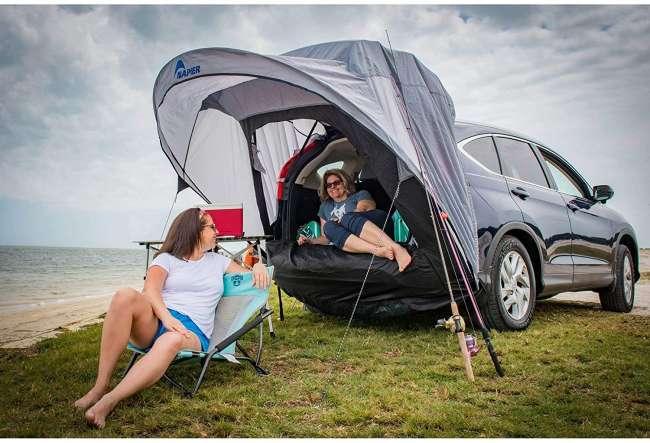 2 women relaxing under napier cove tent