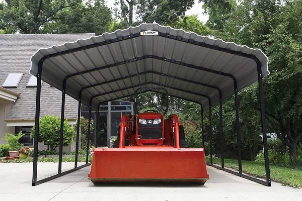 Arrow Steel Carport tractor storage