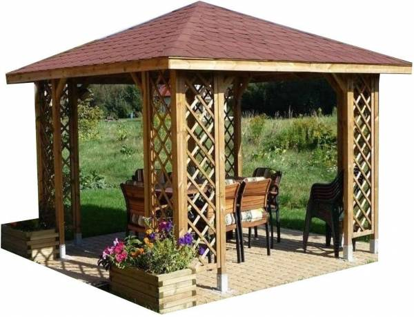 Checo 10ft x 10ft Wooden Gazebo with Shingles