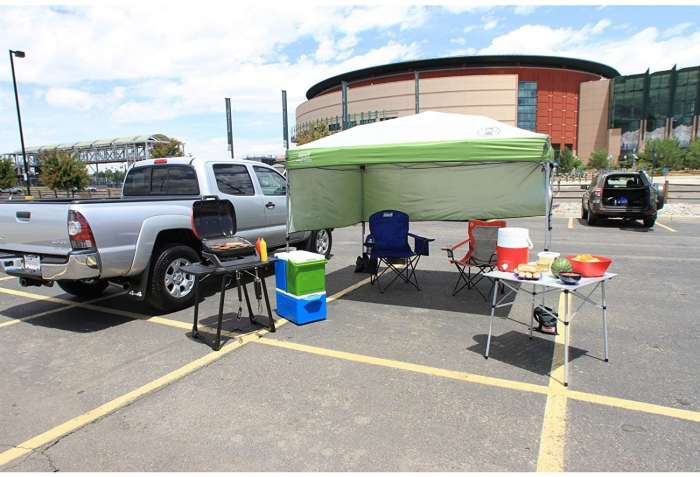 Coleman canopy pitched in a carpark