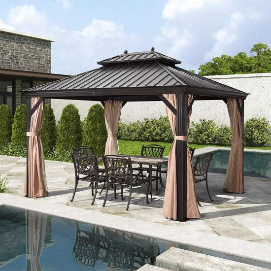 Purple Leaf Galvanized Hardtop Gazebo
