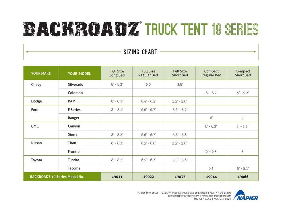 napier backroadz truck tent sizing chart