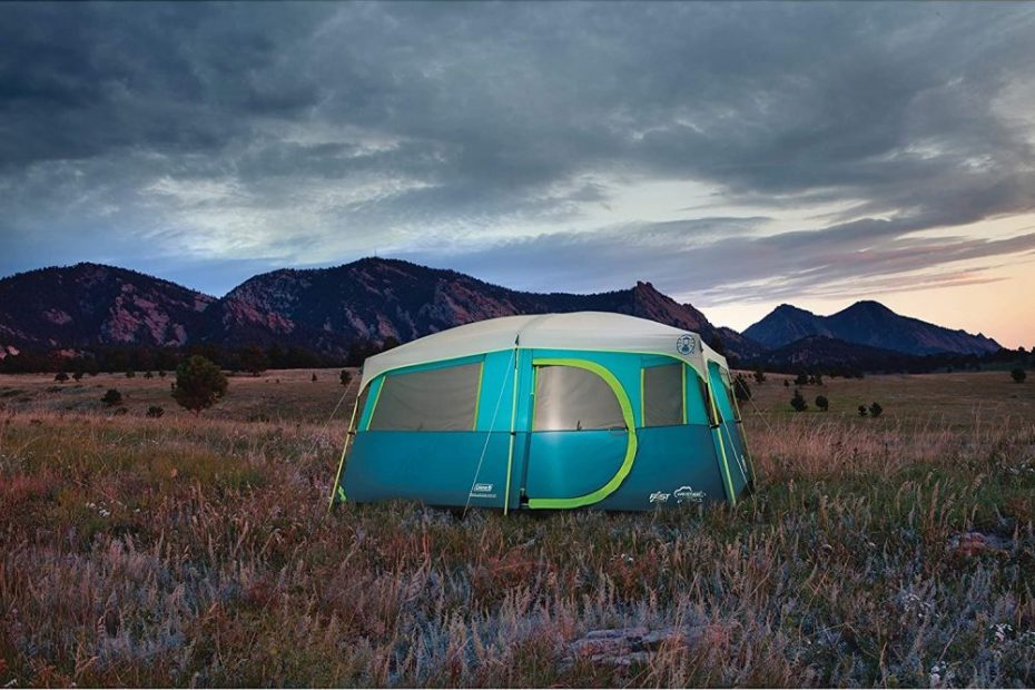 Tenaya Lake tent pitched at night
