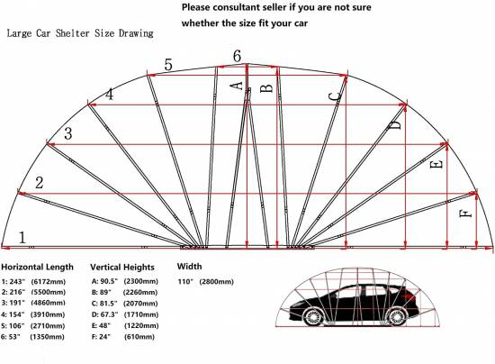Ikuby carport sizing chart