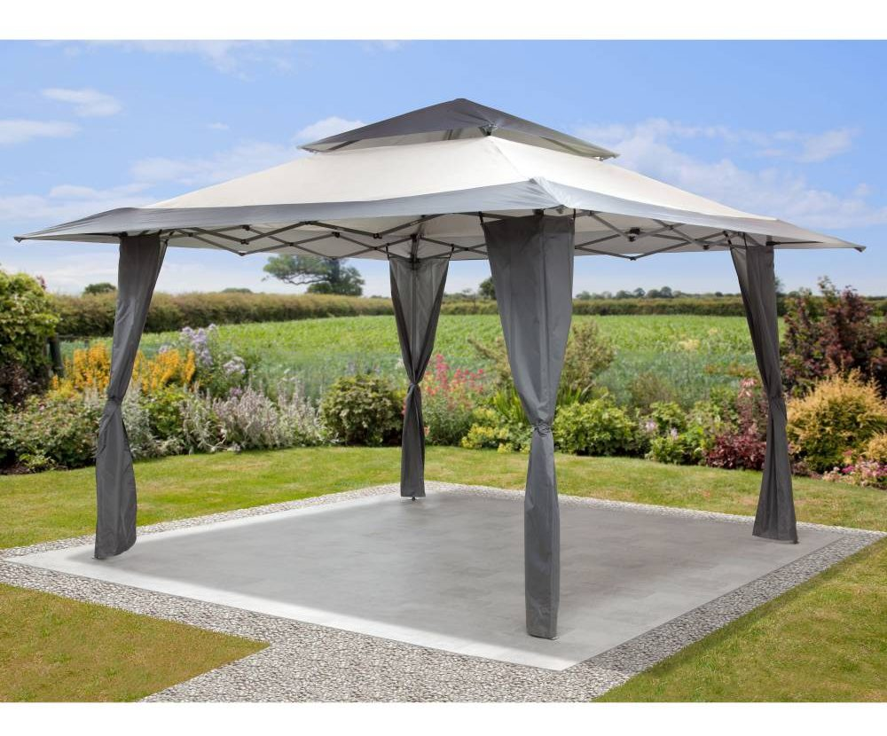 Mosaic pop up gazebo in a backyard