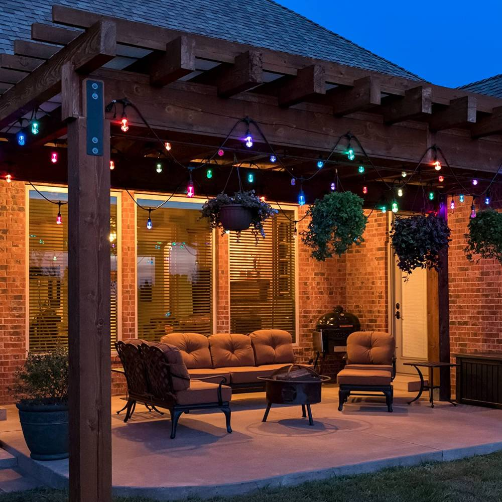an outdoor gazebo covered in canopy lights