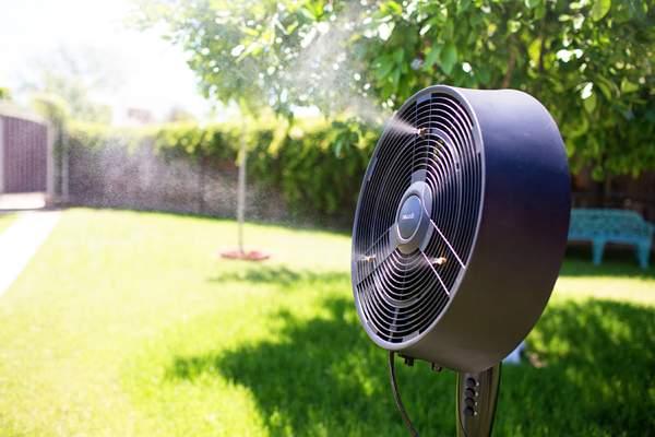 outdoor misting fan in a garden