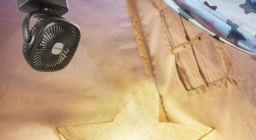 tent with a fan inside