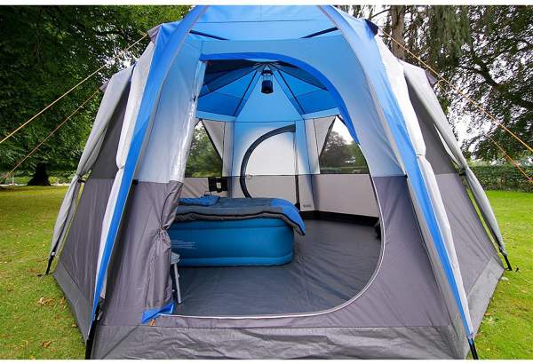 the Coleman Octagon tent pitched and open