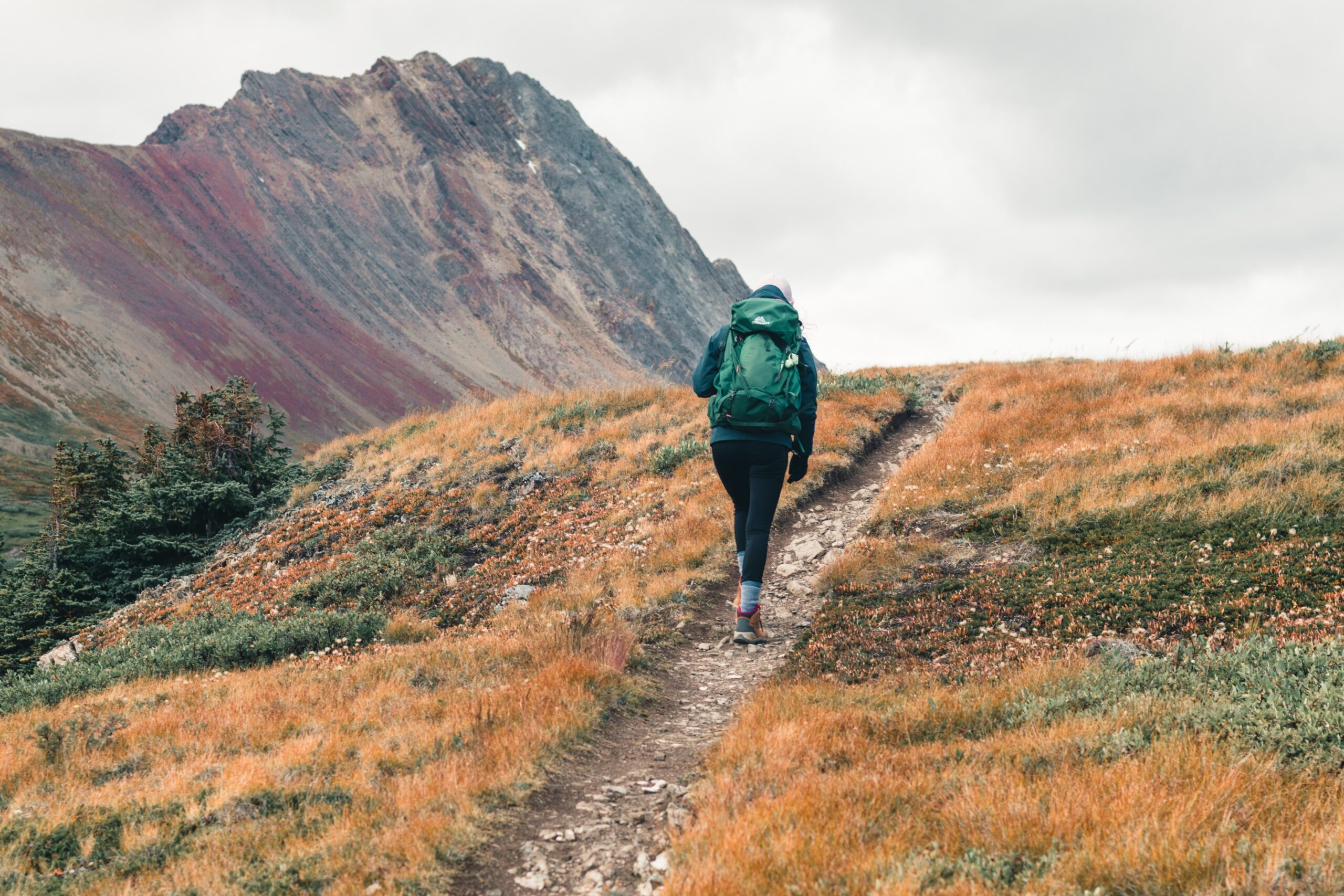 Woman Hiking near Mountain with hiking boots